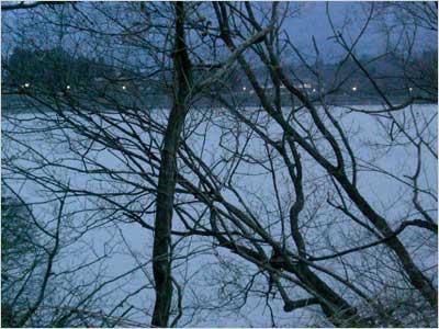 テニスコートから見る赤谷湖